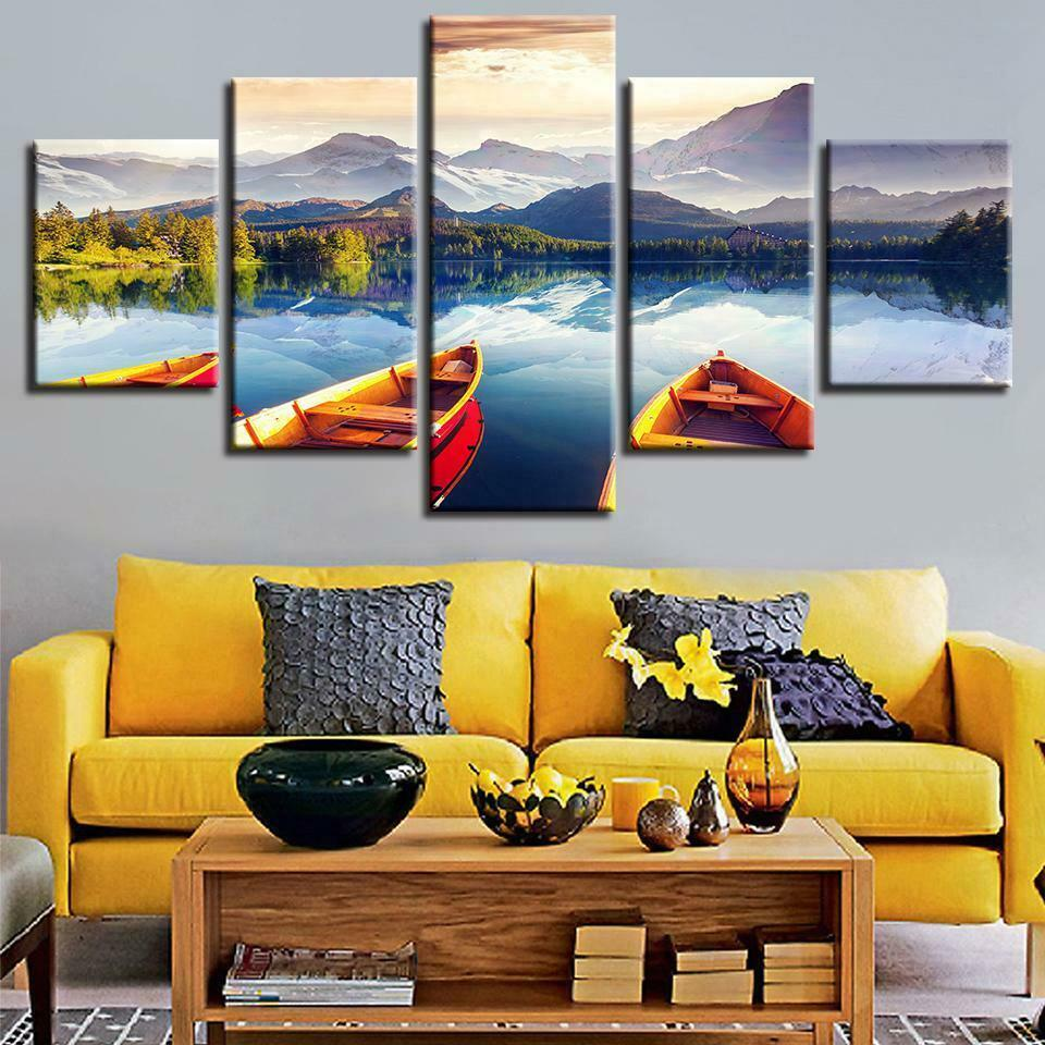 Canoe Lake Vacation Relaxing Poster Canvas Wand Decor Home Decor Canvas Drucken