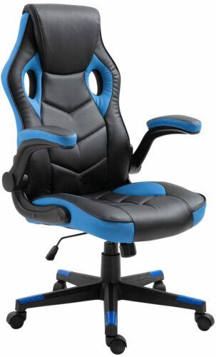 Fauteuil de bureau chaise gamer ergonomique réglable pivotant bleu//noir BUR10400