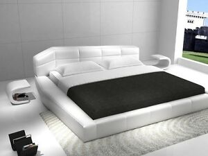 Image Is Loading Rishon King Size Modern Design White Leather Platform