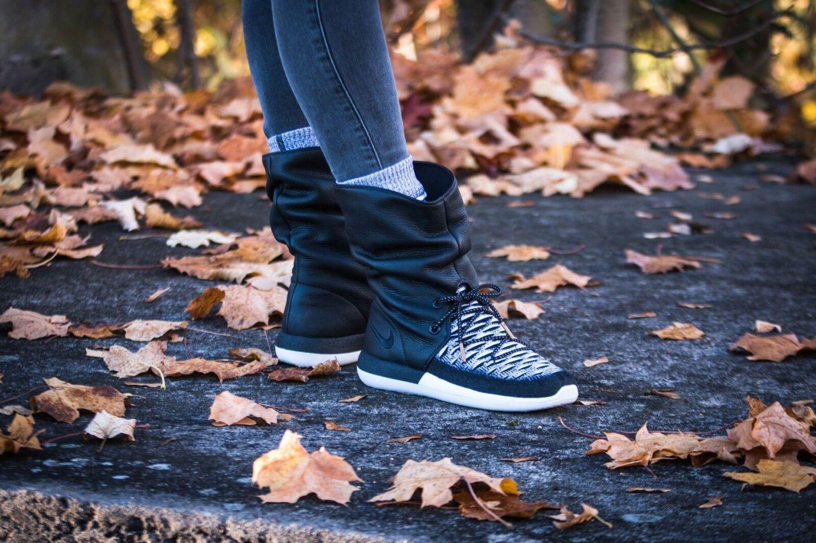 Nike Roshe Two High Flyknit 861708-002 Black White Sneakerboot Wmn Sz 8
