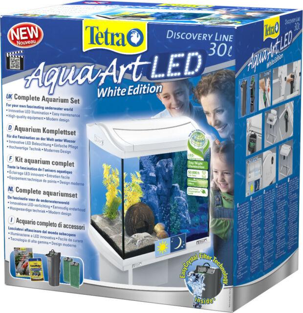 Aquarium Komplettset Mit Led Beleuchtung   Tetra Aquaart Led Aquarium Komplettset Fur Krebse 30 L Weiss Ebay