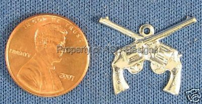 4 Pieces Fine Silver Plated 8212 TierraCast Six Shooter Gun Charms