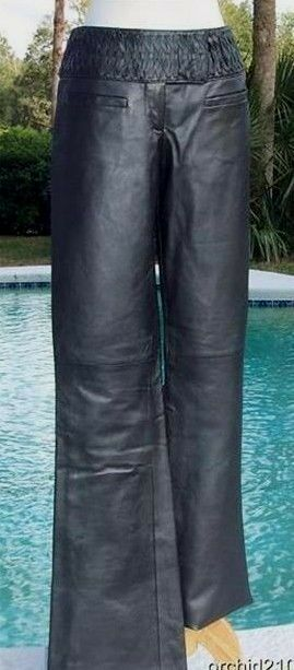 Cache Lined Metallic Leather Pant New Size 6 8 S M Woven 3  Self Belt  NWT