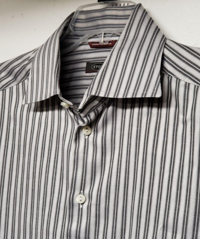 Eton Contemporary Dress Shirt Größe 16 1/2 42 grau Striped Wrinkle Free Cotton
