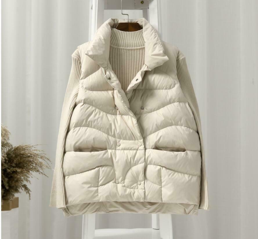 Womens Slim Cotton Blend Padded Sleeveless Outerwear Warm Stand Collar Coat Vest