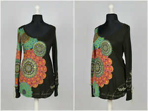 Womens-Desigual-Tunic-Blouse-Long-Sleeve-Geometric-Aztec-Picture-Black-Size-L