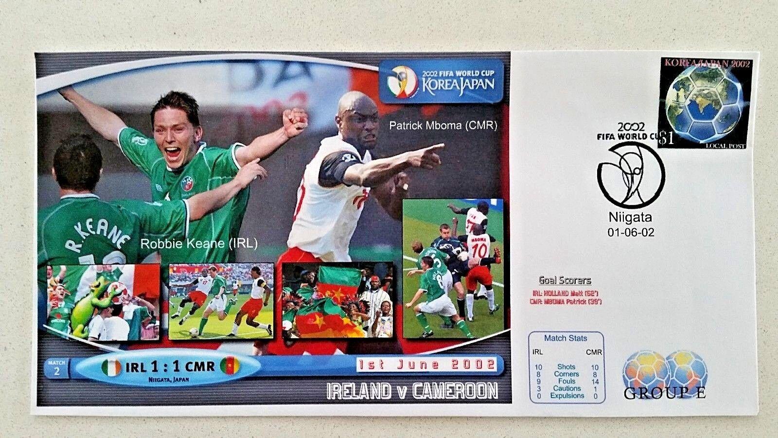 Primer día cubierta de la Copa Mundial Fifa Corea Japón 2002 Irlanda v Camerún