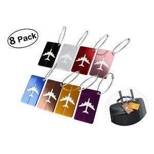 8-Pack-Aluminium-Metal-Travel-Luggage-Tags-Labels-Suitcase-Tags-with-Strings-New