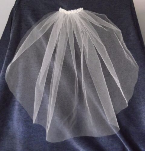 BEADED PEARL VEIL, 37cm BELOW SHOULDER LENGTH, CUT EDGE, IVORY COLOUR, NEW, Aust