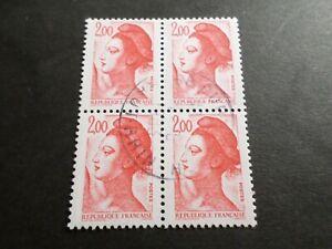 FRANCE BLOC timbres 2274 LIBERTE' DELACROIX, oblitéré 1983 cachet rond, QUARTINA
