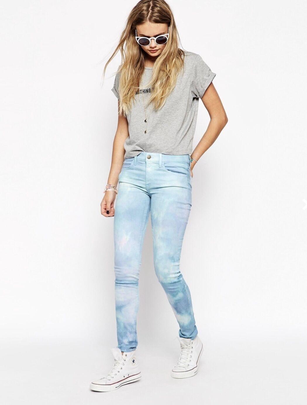 NWT WILDFOX bluee aqua pink Tie Dye Daydream Marianne Stretch Skinny Jeans 25