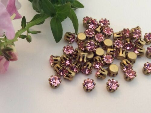 Vintage Brass Set Strass Pack 36 Round GF 4 mm 17ss CRAFT Taille Couleur Option