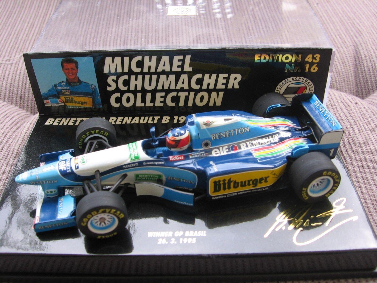 MSC Schumacher f1 Benetton Renault b195 GP BRAZIL 1995 1 43 16 Minichamps OVP