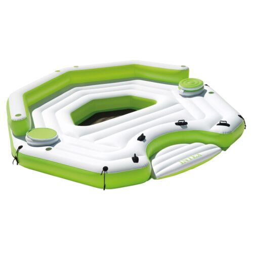Intex Inflatable Key Largo Party Island Float with Built-In Coolers & Cupholders