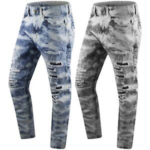 a5da336c4a New Men Denim Jeans Ripped Distressed Slim Fit Acid Wash Black Blue ...