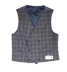 Lauren by Ralph Lauren Mens Suit Vest Gray Size Medium M Plaid Wool $125 #264