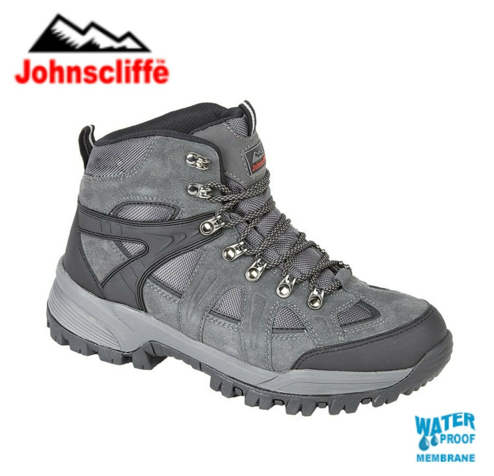 JOHNSCLIFFE - Waterproof Grey Suede Hiking Boots - Sizes 4 5 6 7 8 9 10 11 12 13