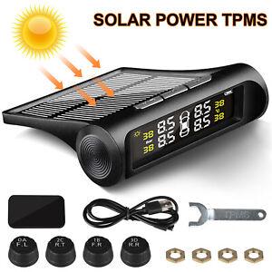 Wireless-Solar-LCD-Reifendruck-Kontrollsystem-TPMS-mit-4-externen-Sensoren-NEU
