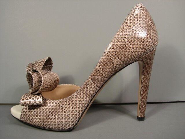 b9ba7a974da Valentino Snakeskin Big Bow Platform PEEP Toe PUMPS Sandals Shoes ...