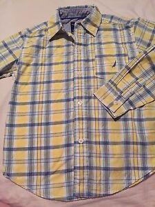 Nautica-Boys-Long-Sleeve-Button-Up-Shirt-Size-Xl-7x-Yellow-Blue