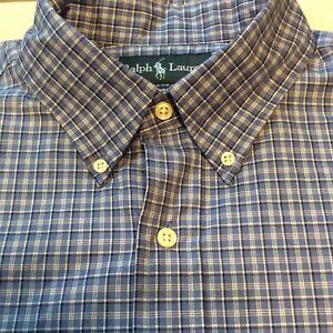ce248785d5e9 Ralph Lauren Classic Blue White Plaid/Check Long Sleeve Button Shirt ...
