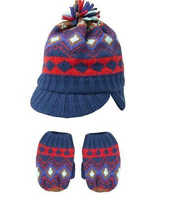 BNWT Baby boys  blue warm winter fairisle bobble hat  1-2  years