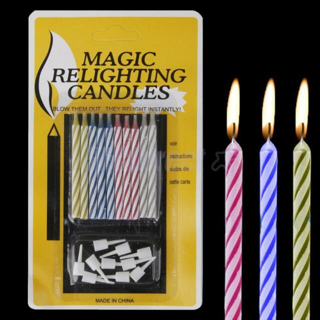 Pack of 10 Re-lighting Joke Magic Trick Birthday Cake Candles with Holders