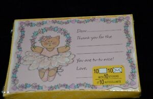 Details about Vintage Thank You Cards with Stickers TUTU WEARING BALLERINA CAT 10 Cards NIP
