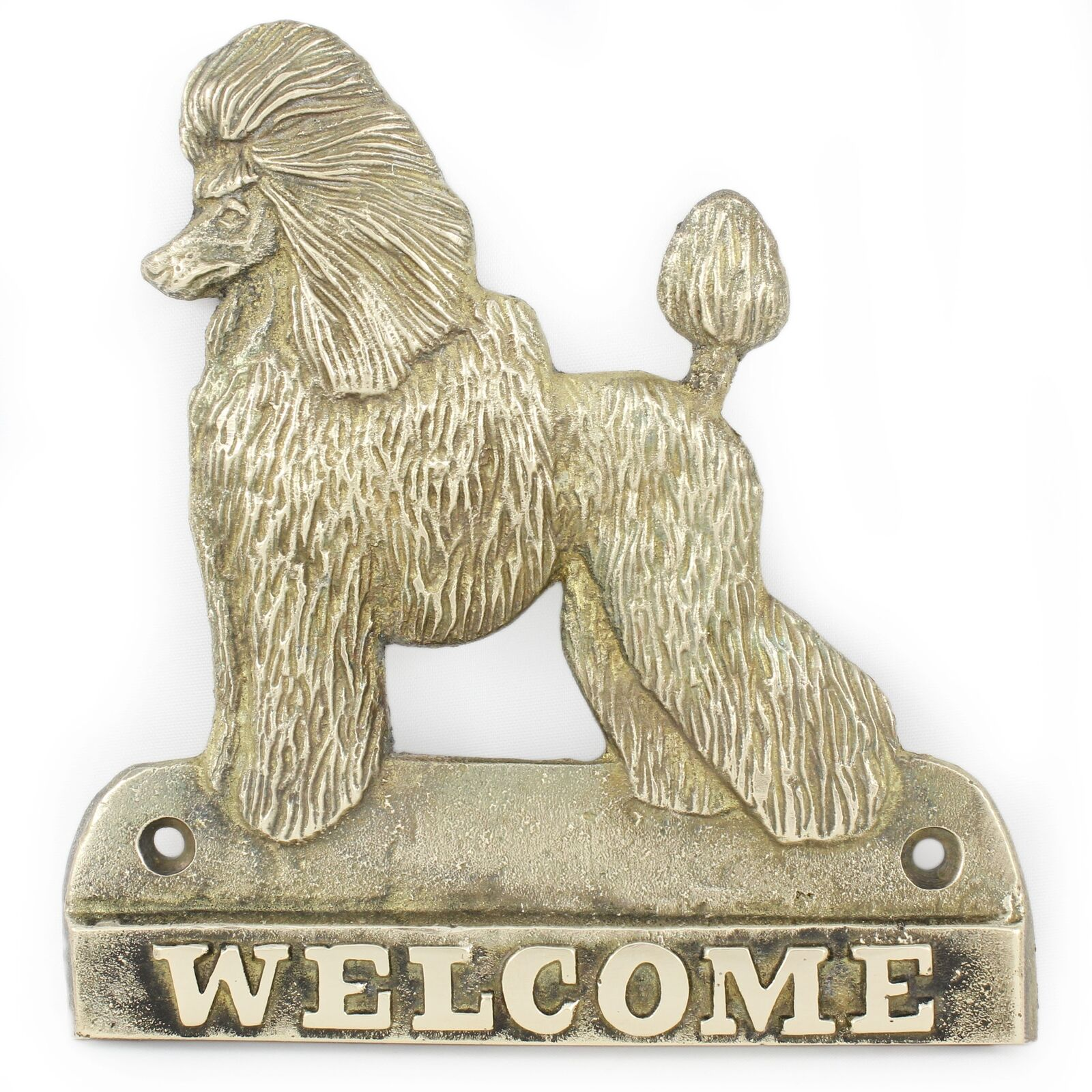 Poodle - brass tablet with image of a dog, Art Dog