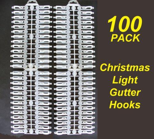 Clips for Christmas Fairy Lights 100 Pack Gutter Hooks