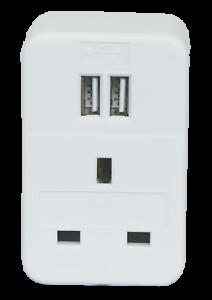 Plug-Through-UK-Mains-Adaptor-with-Dual-FAST-CHARGE-USB-Ports-2400mA-White