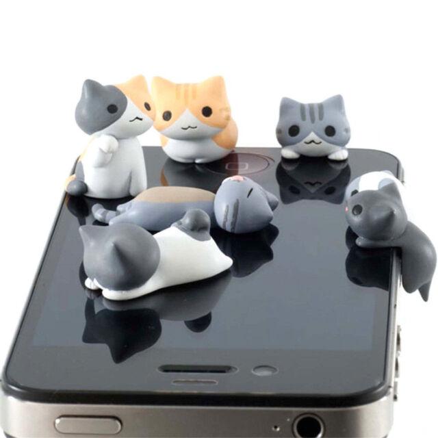 Cute 3D Cat Mobile Phone Earcap Earphone Stopper Anti Jack Dust Plug Cover 3.5mm