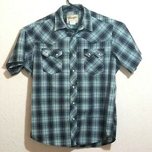 Wrangler-Men-s-Western-Shirt-Pearl-Snap-Size-L-Black-Gray-Blue-Casual-Cowboy