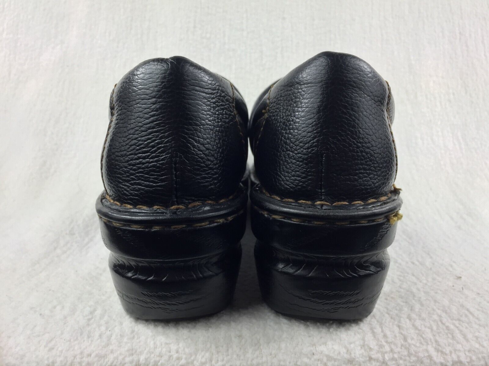 BOC Peggy Pebbled Leather Stitched Clogs Womens Size 8.5M Black BC3632