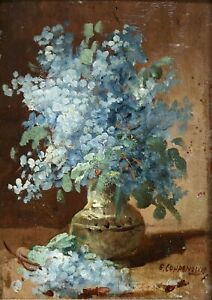 EDMOND-VAN-COPPENOLLE-1846-1914-SIGNED-FRENCH-OIL-ON-PANEL-FLOWERS-IN-VASE