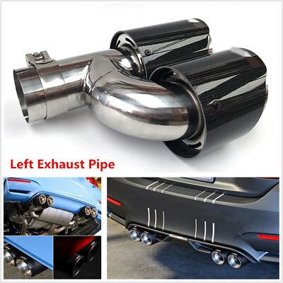 Glossy Real Carbon Fiber Car Dual Pipe Left Exhaust Pipe Tail Muffler Tip 63mm