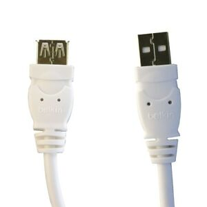 Belkin-Universal-6Ft-A-A-Male-USB-to-Female-USB-1-0-Data-Extension-Cable-White