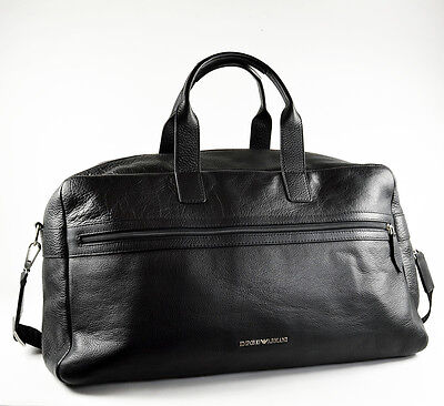 Emporio Armani Large Black Mens Brief-Case / Brief Case / Travel Bag - New