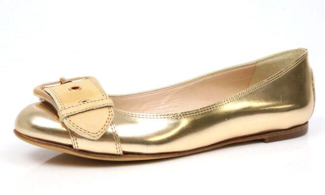 b5107d720495 Giuseppe Zanotti 1060 Mirror Metallic Rosegold Buckle Ballet Flats Size 38.5