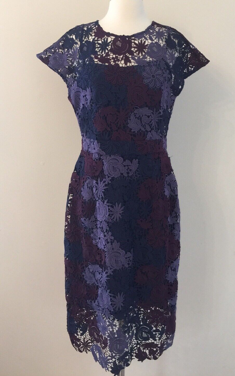 Jcrew Factory Scalloped Lace Dress Sz 6 Purple bluee Burgundy ONE OF A KIND RARE