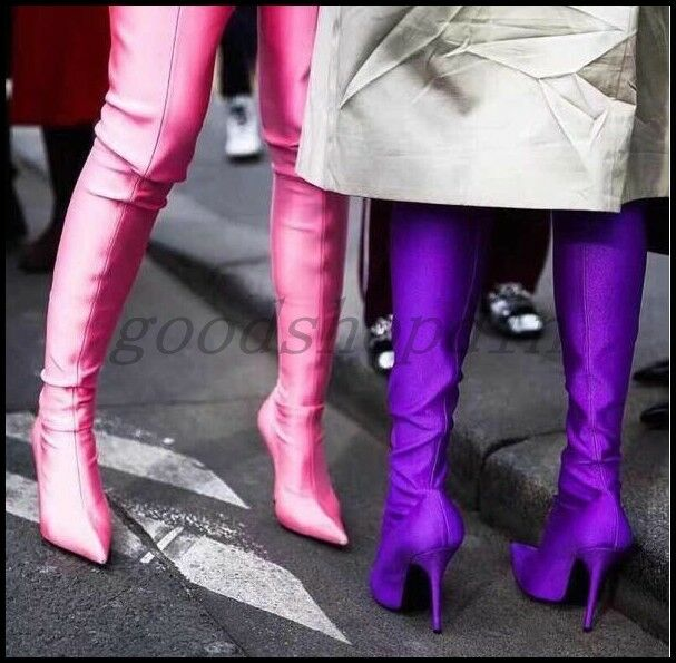 Chic Womens Stretchy Satin Pointy Toe Over Knee Thigh Boots Stilettos Shoes 4-13