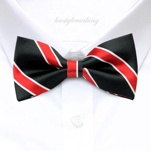 *BRAND NEW* RED/&WHITE STRIPES BLACK CUTE TUXEDO BOYS BOW TIE B513