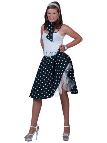 Señoras Polka Dot Rock N Roll Falda Y Bufanda 50s 60s Fancy Dress Negro Grasa Nuevo