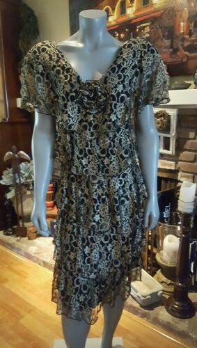 HOLLY  Harp Vintage Tiered BLACK GOLD Dress SZ S
