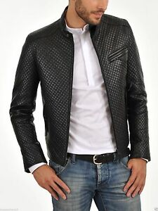203f20813c99 Image is loading New-Mens-Genuin-Leather-Motorcycle-Quilted-Jacket-Real-