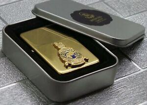 ROYAL-NAVY-MARINES-Cigarette-Gold-Cigarette-Cigar-Lighter-metal-crest-gift-case