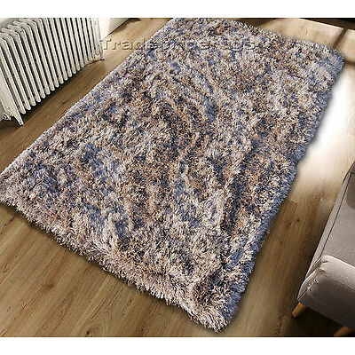 SMALL – LARGE THICK EXTRA LONG PILE GOLDEN BEIGE MIX SHAGGY PILE PLUSH RUG