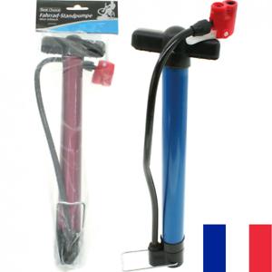 Pompe à Vélo 31 cm + Raccord Flexible 40 cm Gonflage Pneus Universel VTT VTC