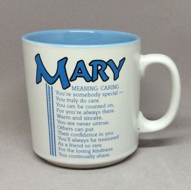Mary Name Mug Coffee Cup Meaning Caring Papel Poetry Marci G  Korea White Blue