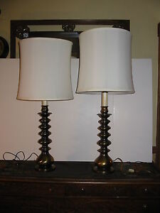 Image Is Loading Vintage Pair Ethan Allen Candlestick Table Lamps Solid